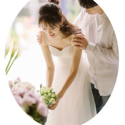 小个子2020新款简约吊带森系新娘短款轻婚纱室外旅游拍女