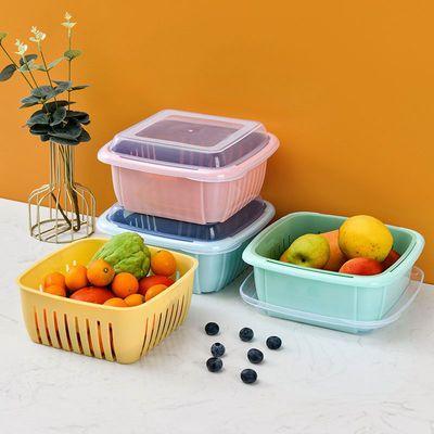 双层沥水篮洗菜篮子水果盘大号洗菜蔬菜筐带盖蔬菜水果收纳保鲜盒