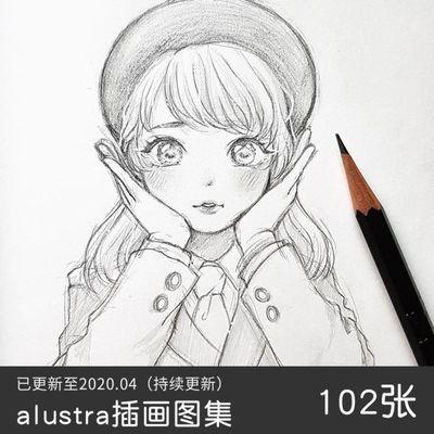 s140 动漫人物手绘插画铅笔线稿临摹参考图片素材