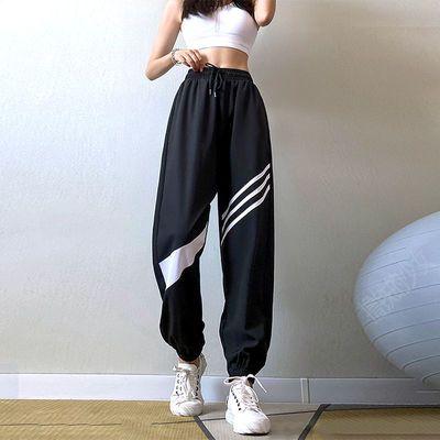 运动裤女宽松薄款速干透气休闲跑步瑜伽裤高腰显瘦束脚健身长裤女