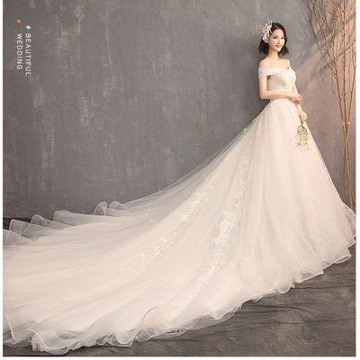 主婚纱2021新款新娘森系超仙梦幻一字肩抖音轻婚纱女赫本奢华拖尾