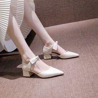 女鞋2021新款潮尖头中空蝴蝶结5cm高跟鞋女学生粗跟性感时尚单鞋