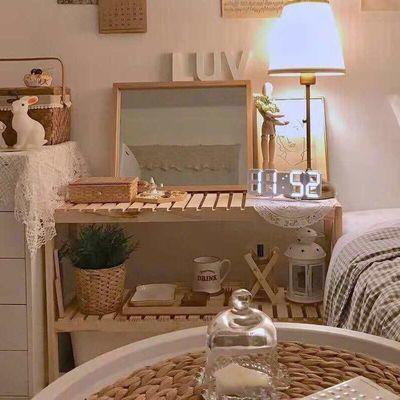 ins简易床头柜实木北欧风卧室饰品排骨置物架子落地飘窗收纳架桌