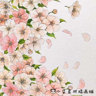 500张水彩花卉手绘电子图水彩花卉植物树叶绿叶花草插画手绘线稿