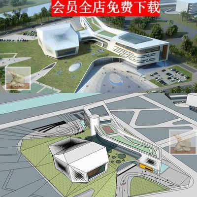 374现代创意异形青少年宫大学生活动中心建筑设计SU模型CAD平面图