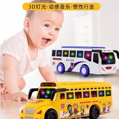 儿童早教灯光音乐校车警车高铁耐摔回力巴士小汽车迷你和谐号玩具