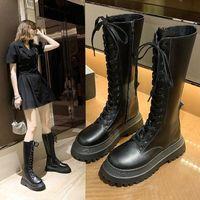 黑色机车靴女2020年新款厚底中筒马丁靴高筒保暖骑士靴加绒小腿靴