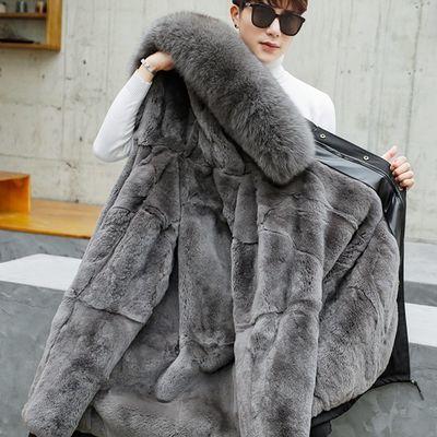 派克服男新款皮毛一体中长款外套懒兔狐狸毛海宁皮草加厚大衣冬季