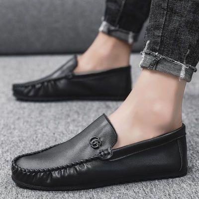 2021新款豆豆鞋男春季男鞋韩版潮流一脚蹬皮鞋男懒人男士休闲鞋子