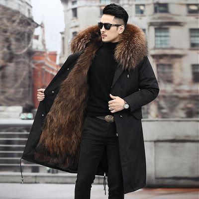 派克服男中长款2020新款海宁皮毛一体狐狸皮外套大码冬款连帽皮袄