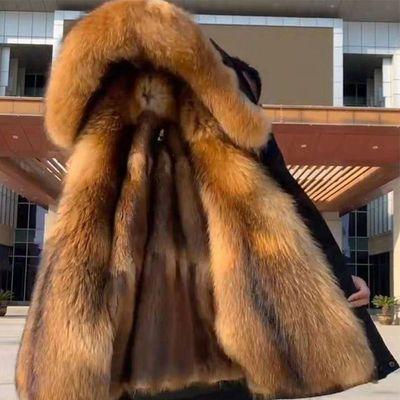 派克服男冬季可拆卸内胆中长款仿皮草大衣狐狸貉子毛加厚外套大码