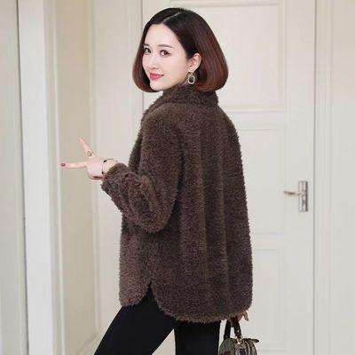 2020秋冬新款仿羊羔毛外套女皮草短款皮毛一体颗粒羊剪绒大衣大码