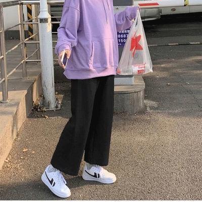 裤子女学生宽松显瘦矮个子韩版直筒阔腿裤胖妹妹女百搭休闲裤九分