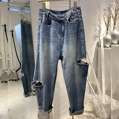 2020年秋冬款新款大码女装显瘦女裤子胖妹妹初秋装盐系穿搭牛仔裤