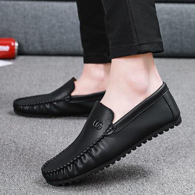 豆豆鞋男网红春季新款真皮男鞋韩版懒人鞋一脚蹬潮鞋小皮鞋英伦
