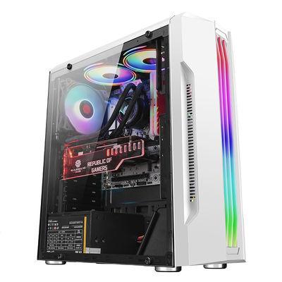 玩嘉魔光台式电脑机箱 台式机rgb灯条全侧透明水冷ATX大板主机箱