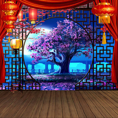 全家福古装摄影背景布直播间YY主播背景男女3D背景墙春节主题背