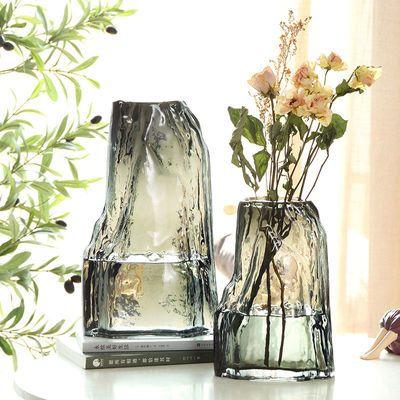 轻奢简约创意玻璃花瓶客厅餐桌水养插花鲜花干花花器网红花瓶摆件
