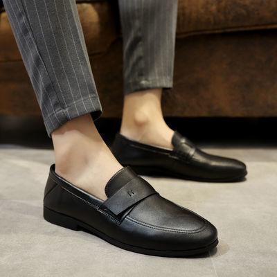 百搭透气休闲鞋韩版潮流黑色皮鞋男士韩版潮流豆豆鞋2021年软皮