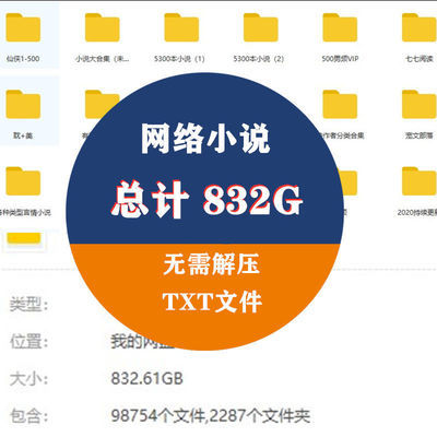 832G网络小说txt晋江合集精选电子版文本素材分类清晰阅读书模板