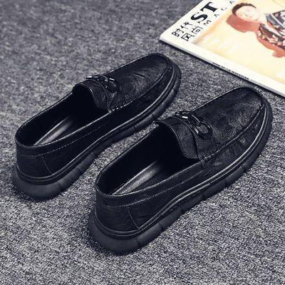 春季新款黑色小皮鞋男士休闲懒人一脚蹬软底潮流百搭英伦豆豆鞋男
