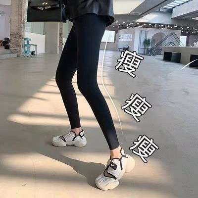 鲨鱼皮打底裤女外穿瘦腿春秋新款薄款高腰收腹紧身弹力瑜伽芭比裤