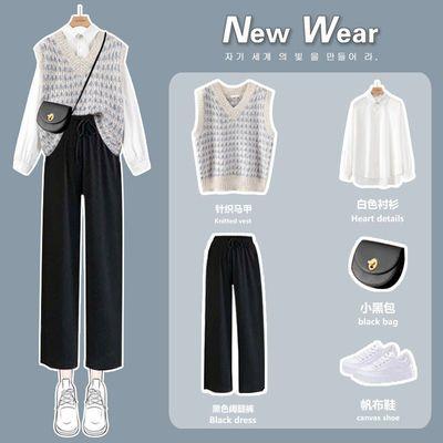 盐系穿搭套装秋冬2021春款女装小个子针织马甲衬衫三件套两洋气质