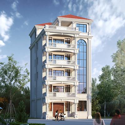 欧式风格六层高档白色漆自建房屋高层设计图纸案例平面图效果图