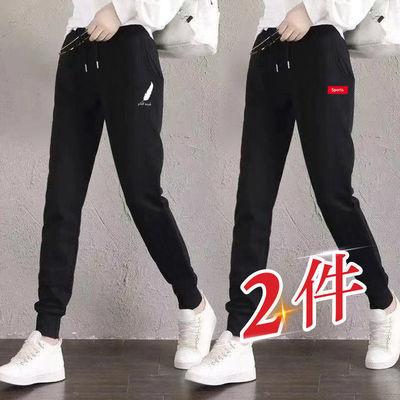 灰色运动裤女宽松束脚裤显瘦百搭2021新款ins潮高街哈伦休闲卫裤