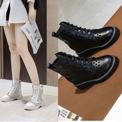 镂空真皮网靴内增高马丁靴女厚底英伦风网纱短靴百搭网面洞洞凉靴