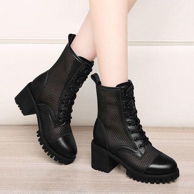 真皮网纱马丁靴女春夏新款薄款镂空英伦风透气网面短靴百搭凉靴女
