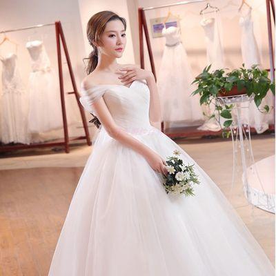 法式轻婚纱2021新款新娘简约旅拍婚纱礼服显瘦女森系出门纱两用