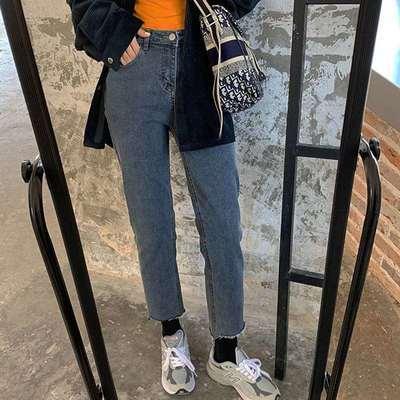 盐系裤子女秋冬梨形身材穿搭胖 mm显瘦直筒裤大码加绒牛仔裤200斤