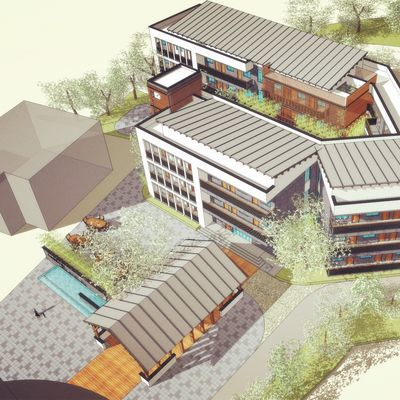 su素材偏现代中式社区养老敬老院老人活动中心建筑景观规划su模型