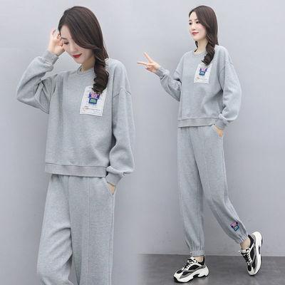 运动服套装女2021春秋新款时尚大码宽松显瘦洋气卫衣休闲两件套潮