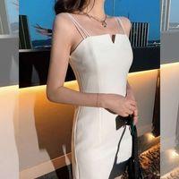 2021新款韩版气质修身包臀吊带连衣裙宴会聚会白色V领小礼服裙女