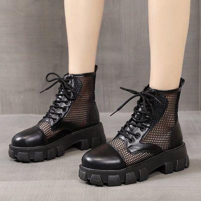 网纱马丁靴女夏季透气英伦风凉鞋网眼镂空中跟厚底时尚短筒凉靴子