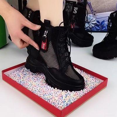 网纱马丁靴女2021新款春夏薄款透气镂空靴子厚底内增高网靴女短靴