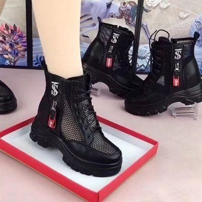 内增高马丁靴2021春夏新款网纱镂空凉靴网红英伦风厚底薄款透气靴