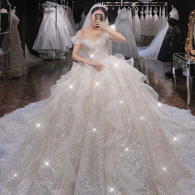 法式主婚纱2021新款新娘一字肩气质小个子拖尾孕妇遮粗手臂出门纱