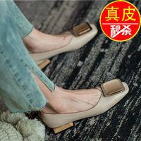 达�b妮正品真皮粗跟单鞋女2021新款浅口小香风女鞋中跟方头奶奶鞋