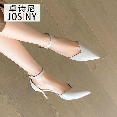 卓诗尼凉鞋女2021春新款单鞋女一字扣细跟高跟鞋百搭时尚单鞋婚鞋