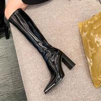 肯豆同款长靴女冬季2020新款长筒瘦瘦靴高跟粗跟不过膝高筒骑士靴