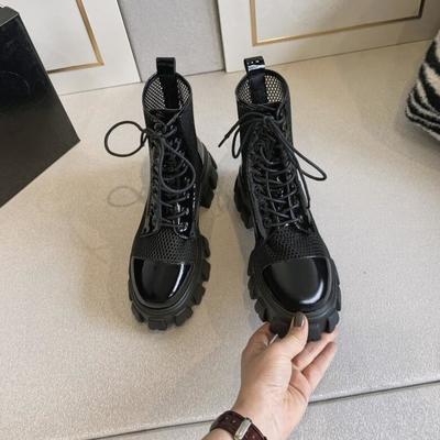 马丁靴女夏季薄款透气网纱镂空凉靴英伦风厚底松糕短靴网靴显脚小