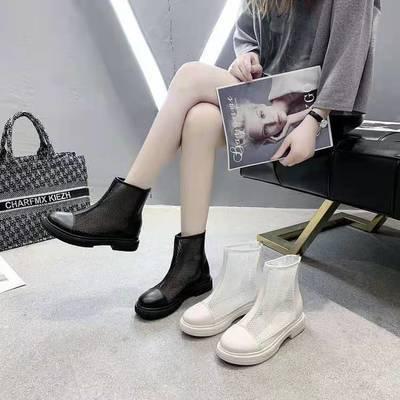 2021春夏新款马丁靴透气时尚网纱镂凉鞋网靴气质韩版中筒厚底女鞋