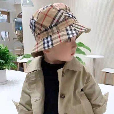 儿童帽子春秋季2021新款格子男女童双面渔夫帽夏天遮阳防晒盆帽潮
