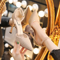 百搭法式小高跟鞋女细跟一字扣带2021年新款性感晚礼服单鞋小香风