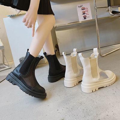 网纱凉靴2021新款网靴镂空夏季短靴网红潮流厚底透气切尔西马丁靴