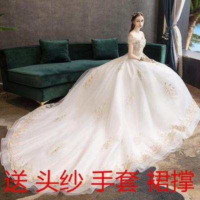 轻婚纱2021新款新娘女一字肩公主显瘦森系奢华法式超仙星空长拖尾