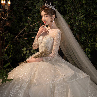 主婚纱2021新款新娘拖尾气质长袖遮粗手臂小个子森系超仙梦幻春季
